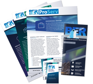 A collage of flyers, brochures, and business card with BER branding.