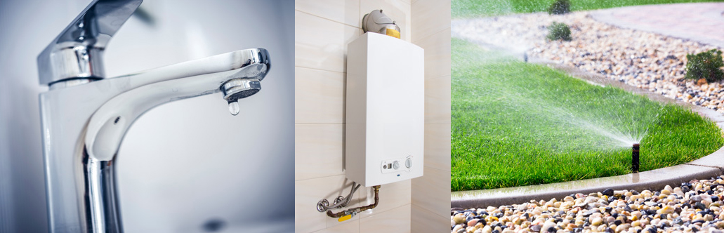 Collage of a kitchen faucet, water heater, and outdoor sprinkler system. All are considered when rating a home's water efficiency.